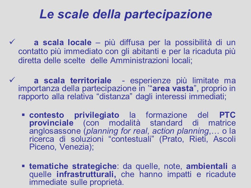 Le scale della partecipazione a scala locale – più diffusa per la possibilità di un contatto più immediato con gli abitanti e per la ricaduta più dire