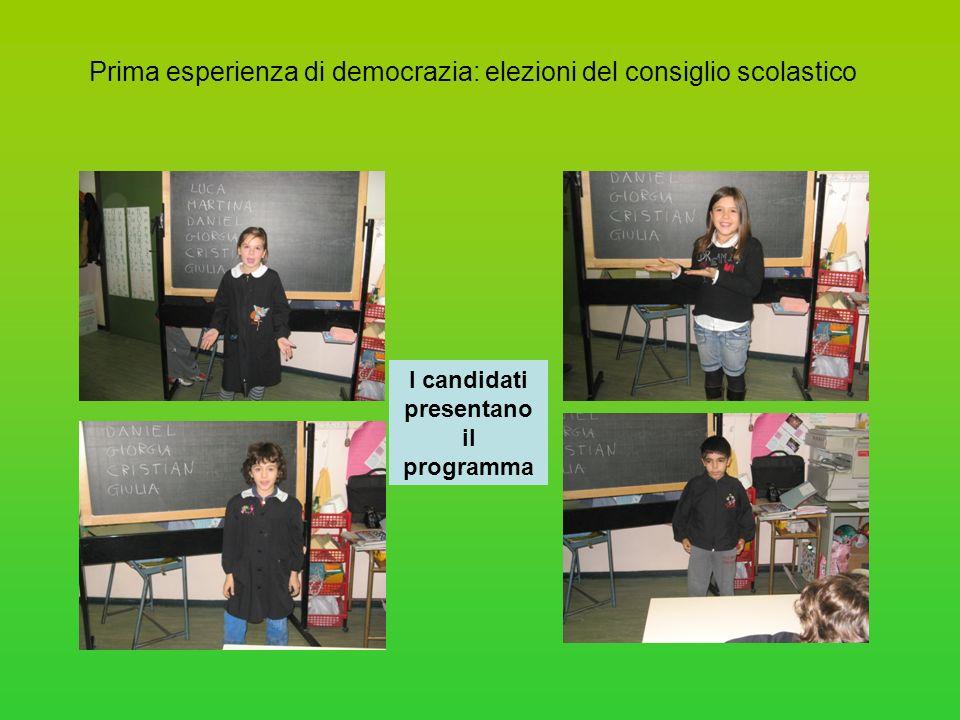 Prima esperienza di democrazia: elezioni del consiglio scolastico I candidati presentano il programma