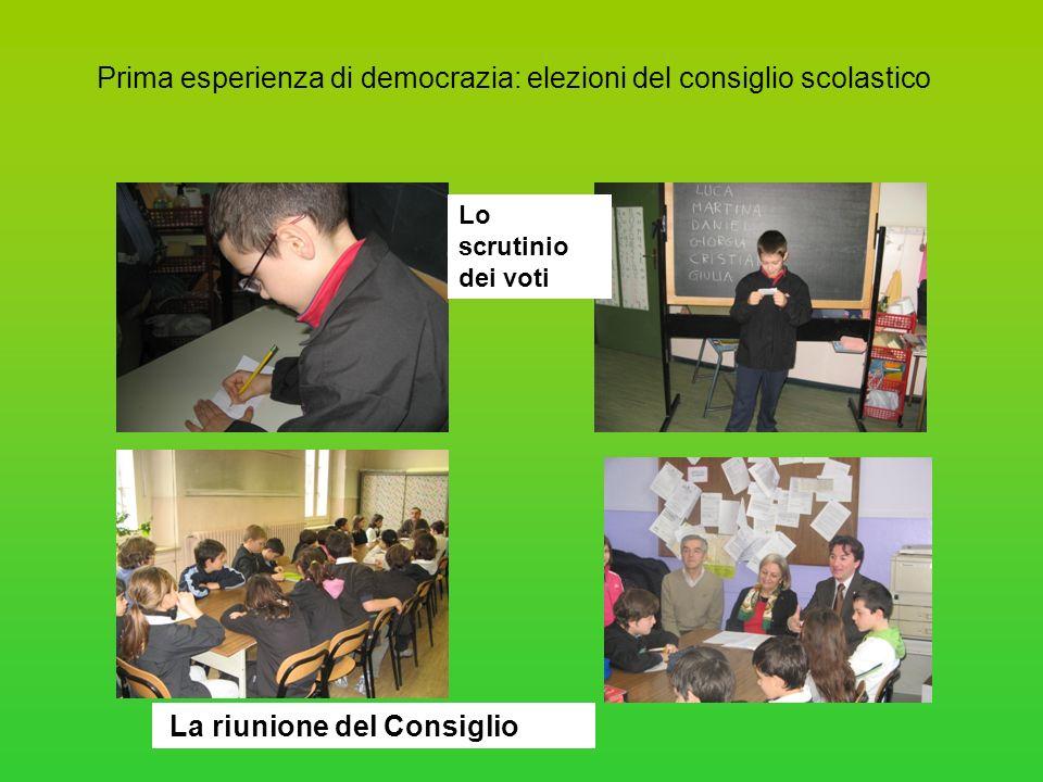 Prima esperienza di democrazia: elezioni del consiglio scolastico Lo scrutinio dei voti La riunione del Consiglio