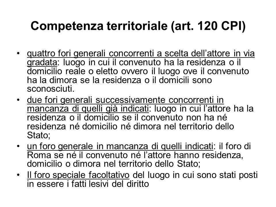 Competenza territoriale (art. 120 CPI) quattro fori generali concorrenti a scelta dellattore in via gradata: luogo in cui il convenuto ha la residenza