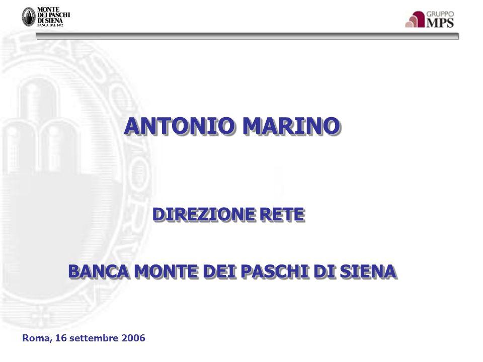 ANTONIO MARINO DIREZIONE RETE BANCA MONTE DEI PASCHI DI SIENA Roma, 16 settembre 2006