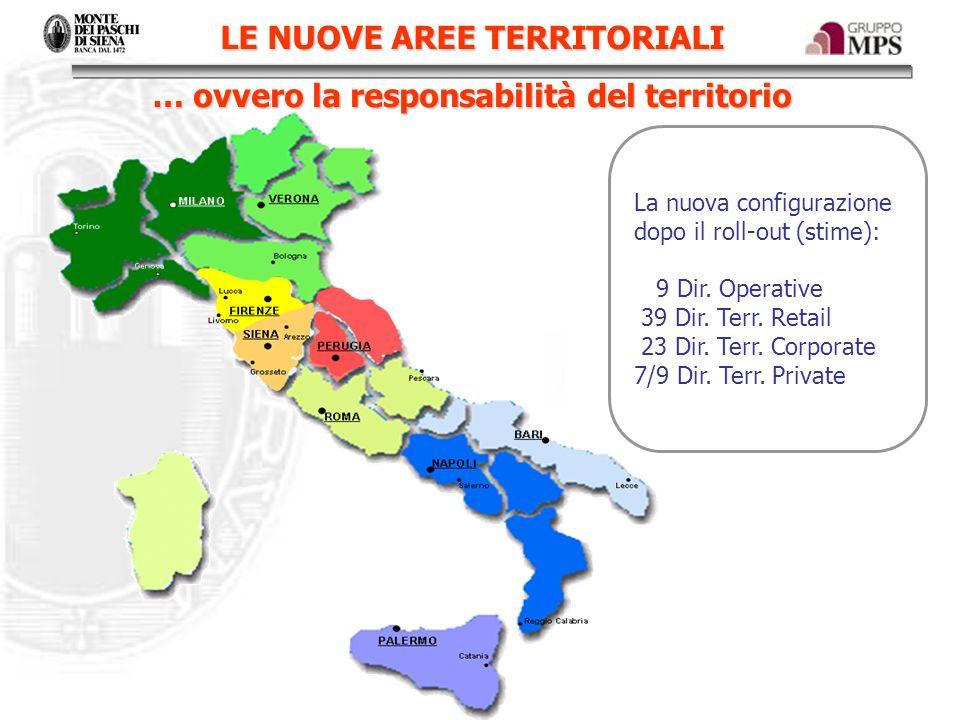 LE NUOVE AREE TERRITORIALI … ovvero la responsabilità del territorio La nuova configurazione dopo il roll-out (stime): 9 Dir. Operative 39 Dir. Terr.