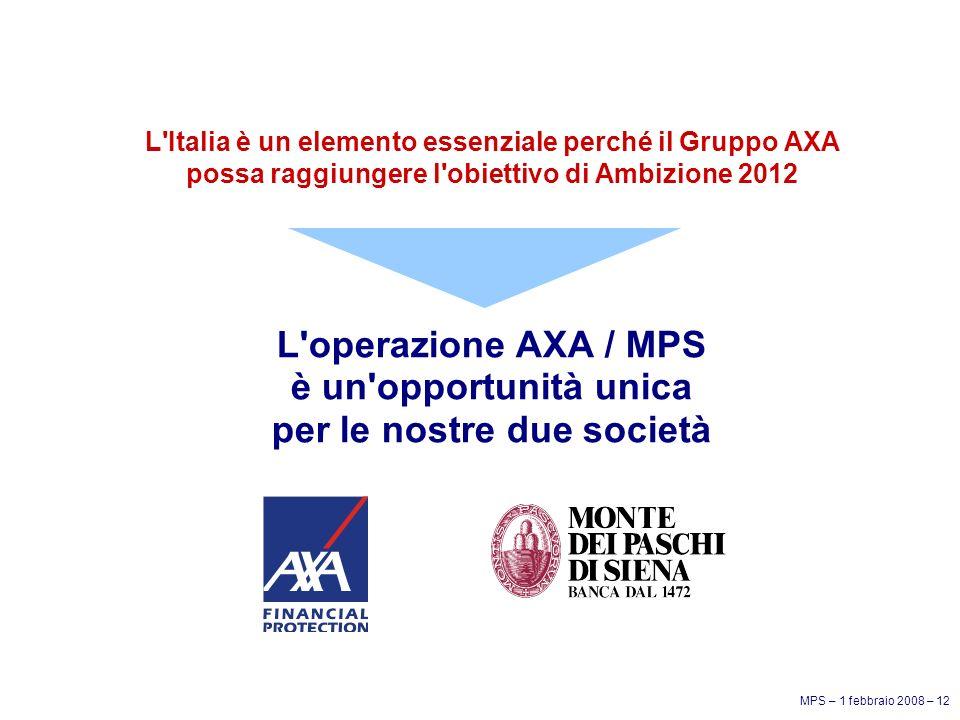 MPS – 1 febbraio 2008 – 12 L Italia è un elemento essenziale perché il Gruppo AXA possa raggiungere l obiettivo di Ambizione 2012 L operazione AXA / MPS è un opportunità unica per le nostre due società