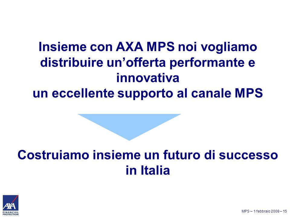 MPS – 1 febbraio 2008 – 15 Insieme con AXA MPS noi vogliamo distribuire unofferta performante e innovativa un eccellente supporto al canale MPS Costruiamo insieme un futuro di successo in Italia