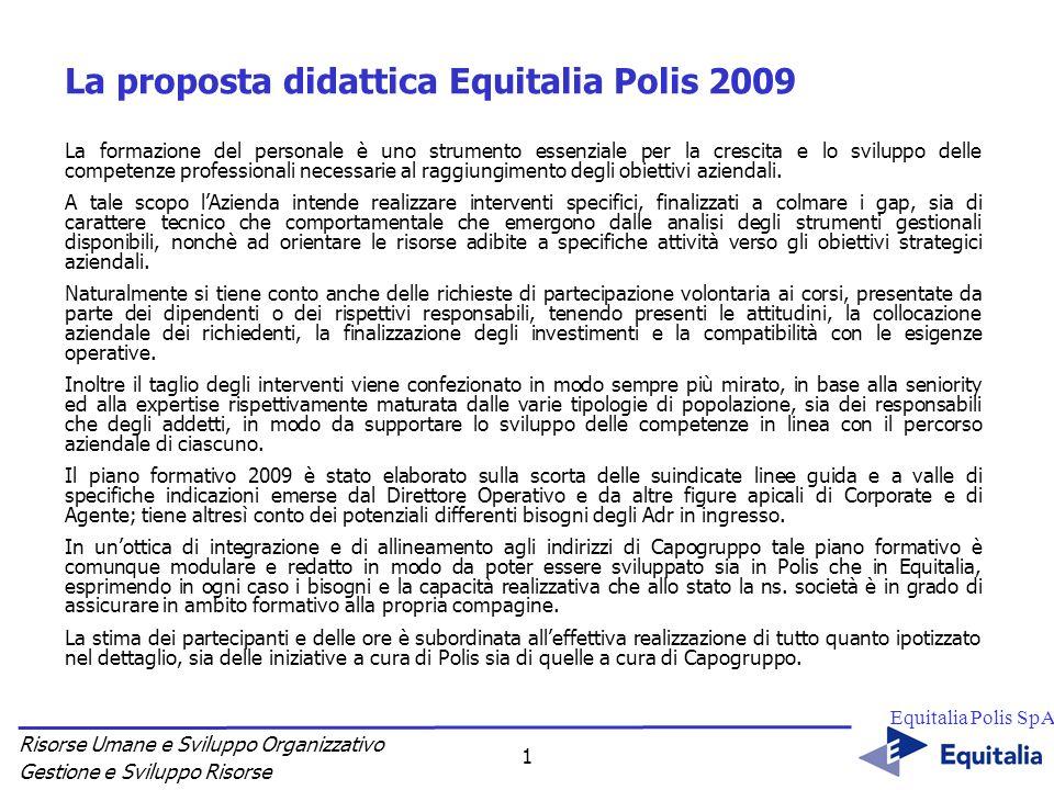 Risorse Umane e Sviluppo Organizzativo Gestione e Sviluppo Risorse Equitalia Polis SpA 1 La proposta didattica Equitalia Polis 2009 La formazione del
