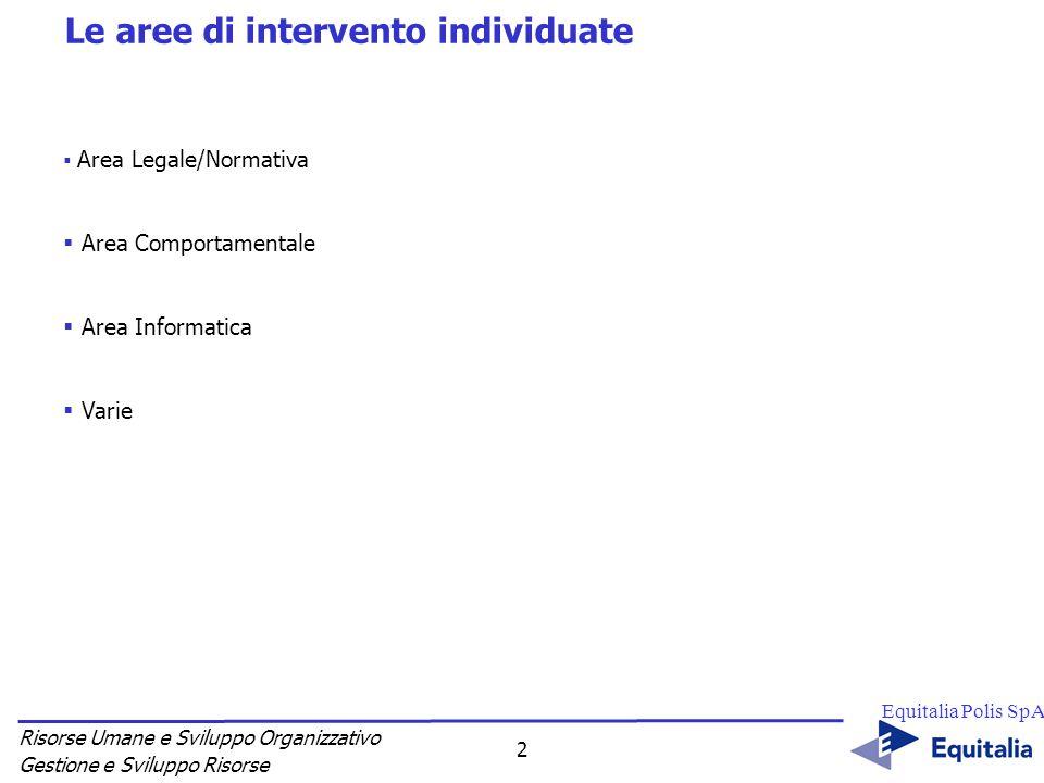 Risorse Umane e Sviluppo Organizzativo Gestione e Sviluppo Risorse Equitalia Polis SpA 2 Le aree di intervento individuate Area Legale/Normativa Area