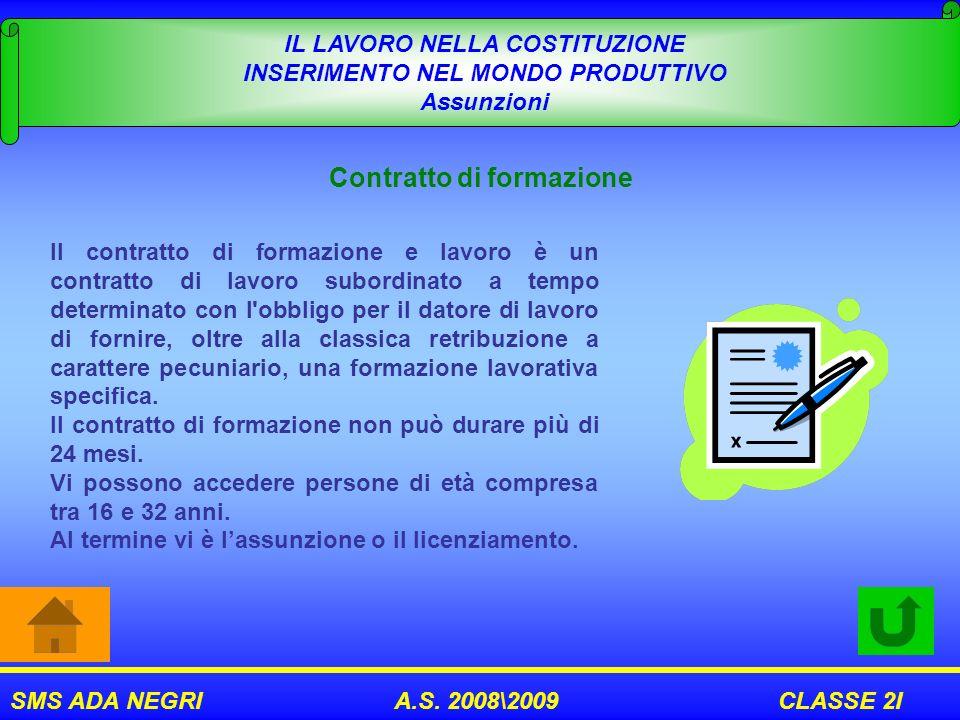 SMS ADA NEGRI A.S. 2008\2009 CLASSE 2I IL LAVORO NELLA COSTITUZIONE INSERIMENTO NEL MONDO PRODUTTIVO Assunzioni Contratto di formazione Il contratto d