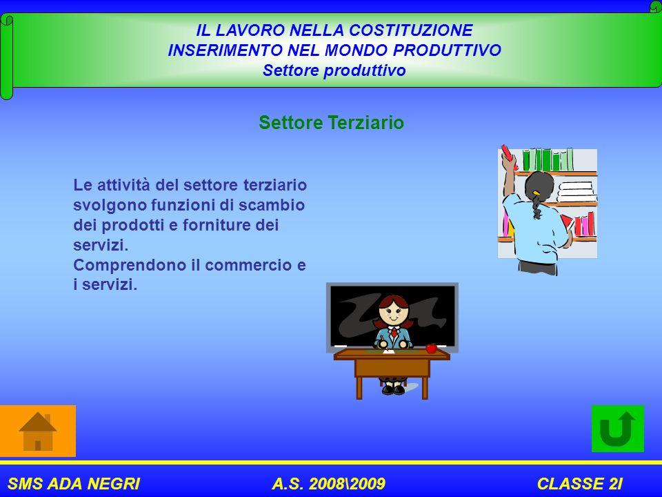 SMS ADA NEGRI A.S. 2008\2009 CLASSE 2I IL LAVORO NELLA COSTITUZIONE INSERIMENTO NEL MONDO PRODUTTIVO Settore produttivo Settore Terziario Le attività