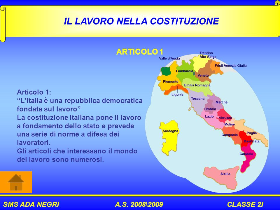 SMS ADA NEGRI A.S. 2008\2009 CLASSE 2I IL LAVORO NELLA COSTITUZIONE ARTICOLO 1 Articolo 1: LItalia è una repubblica democratica fondata sul lavoro La