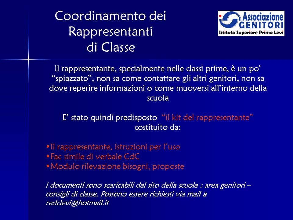 Coordinamento dei Rappresentanti di Classe Il rappresentante, specialmente nelle classi prime, è un po spiazzato, non sa come contattare gli altri gen