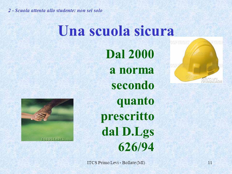 ITCS Primo Levi - Bollate (MI)11 Una scuola sicura Dal 2000 a norma secondo quanto prescritto dal D.Lgs 626/94 2 - Scuola attenta allo studente: non sei solo