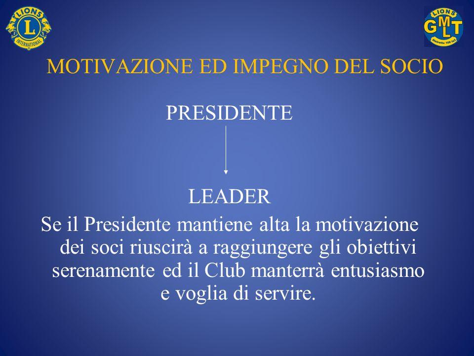 MOTIVAZIONE ED IMPEGNO DEL SOCIO PRESIDENTE LEADER Se il Presidente mantiene alta la motivazione dei soci riuscirà a raggiungere gli obiettivi serenam