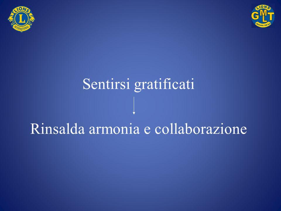 Sentirsi gratificati Rinsalda armonia e collaborazione