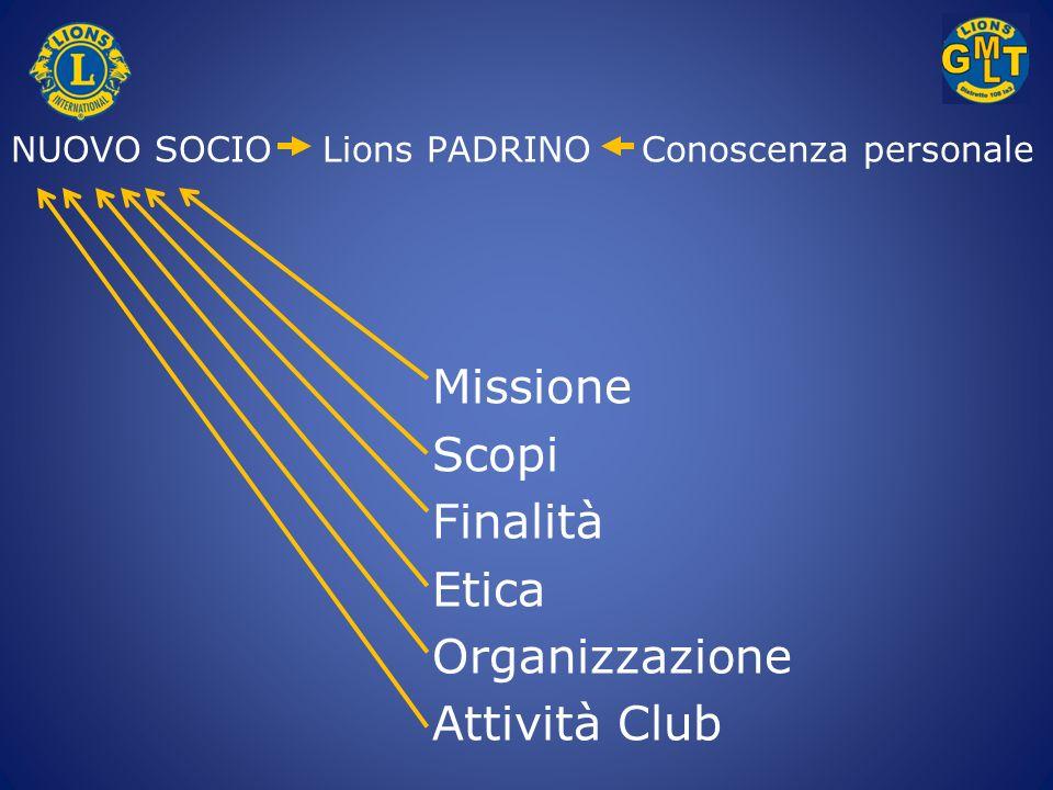 NUOVO SOCIO Lions PADRINO Conoscenza personale Missione Scopi Finalità Etica Organizzazione Attività Club