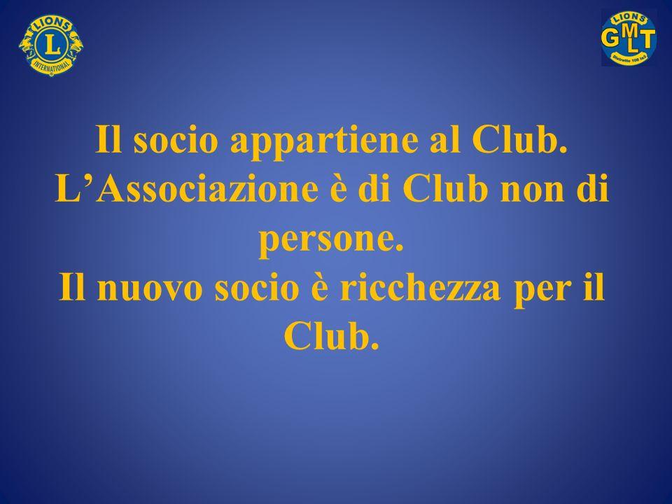 Il socio appartiene al Club. LAssociazione è di Club non di persone. Il nuovo socio è ricchezza per il Club.