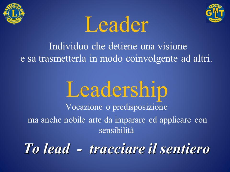 Leader Individuo che detiene una visione e sa trasmetterla in modo coinvolgente ad altri. Vocazione o predisposizione ma anche nobile arte da imparare