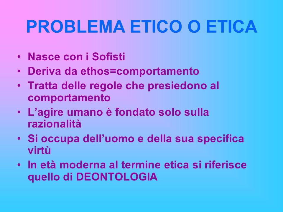 PROBLEMA ETICO O ETICA Nasce con i Sofisti Deriva da ethos=comportamento Tratta delle regole che presiedono al comportamento Lagire umano è fondato so