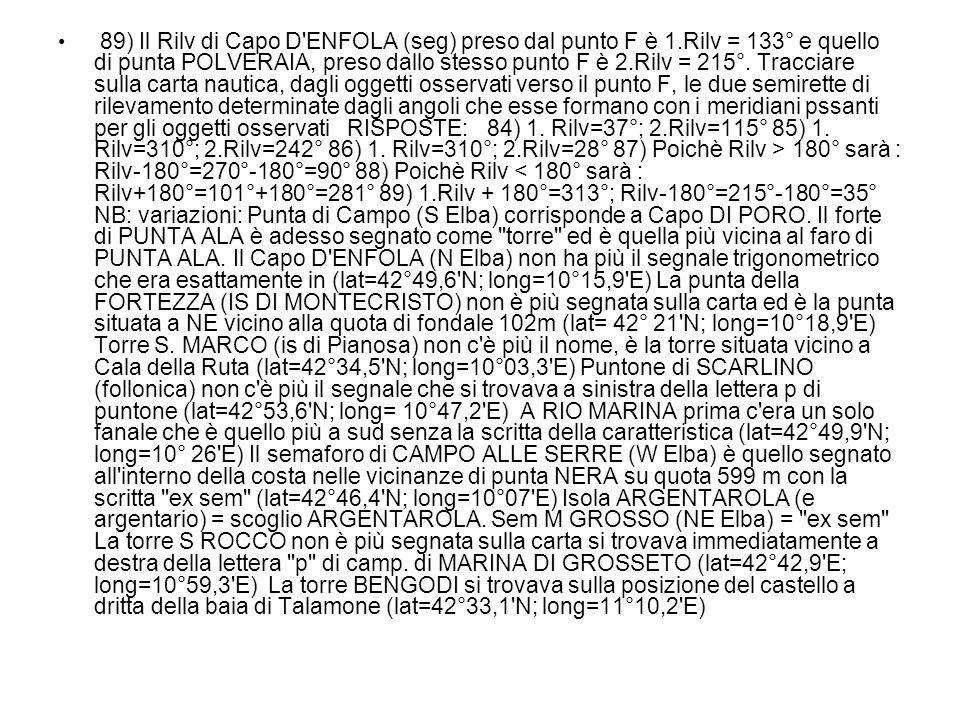 89) Il Rilv di Capo D'ENFOLA (seg) preso dal punto F è 1.Rilv = 133° e quello di punta POLVERAIA, preso dallo stesso punto F è 2.Rilv = 215°. Tracciar