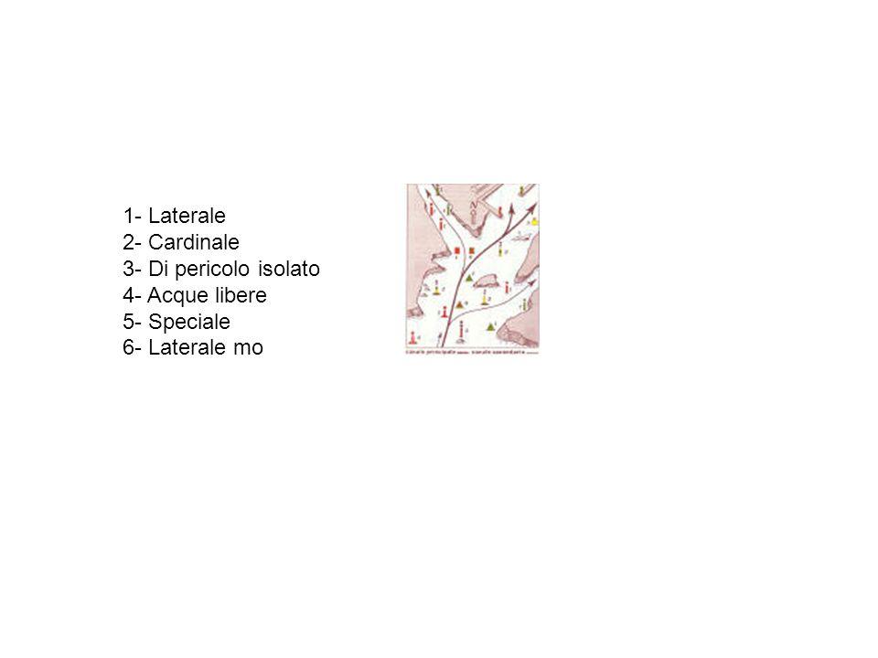 1- Laterale 2- Cardinale 3- Di pericolo isolato 4- Acque libere 5- Speciale 6- Laterale mo