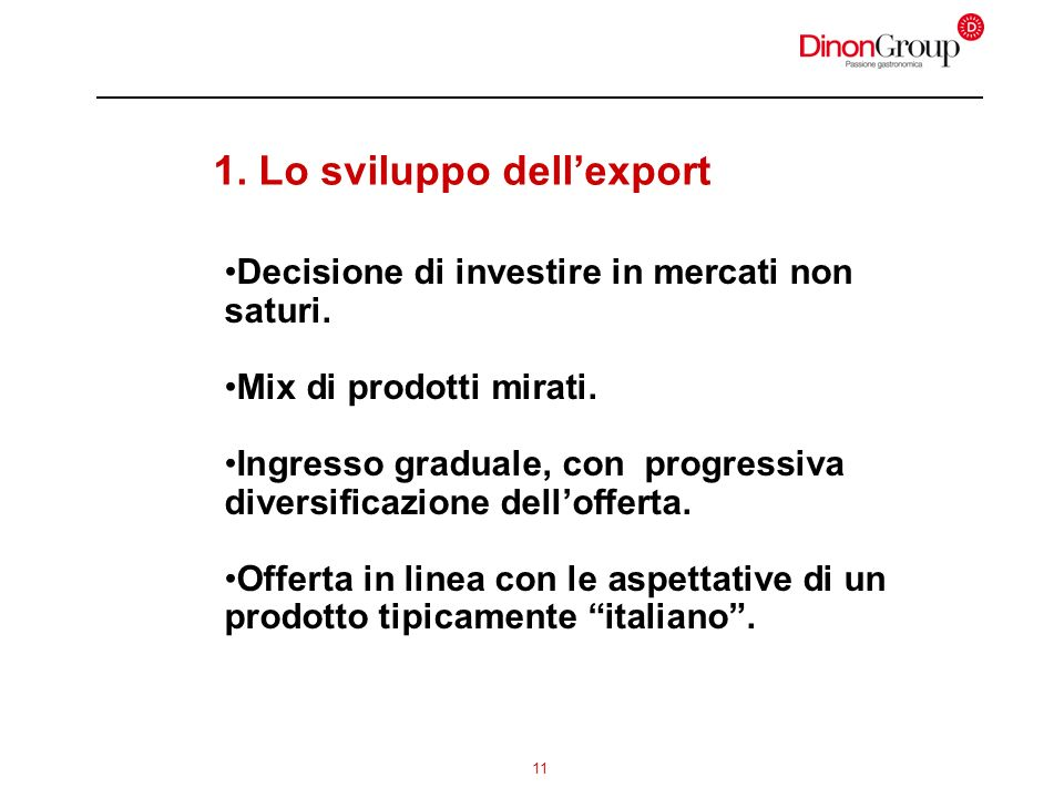 11 1. Lo sviluppo dellexport Decisione di investire in mercati non saturi. Mix di prodotti mirati. Ingresso graduale, con progressiva diversificazione