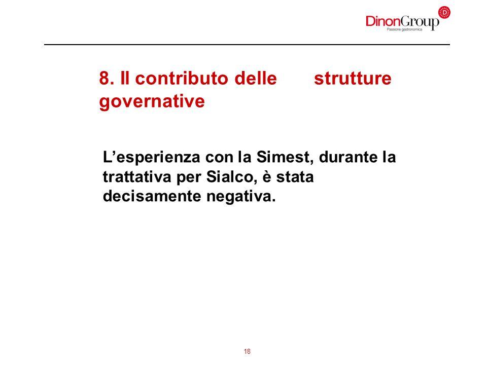 18 8. Il contributo delle strutture governative Lesperienza con la Simest, durante la trattativa per Sialco, è stata decisamente negativa.
