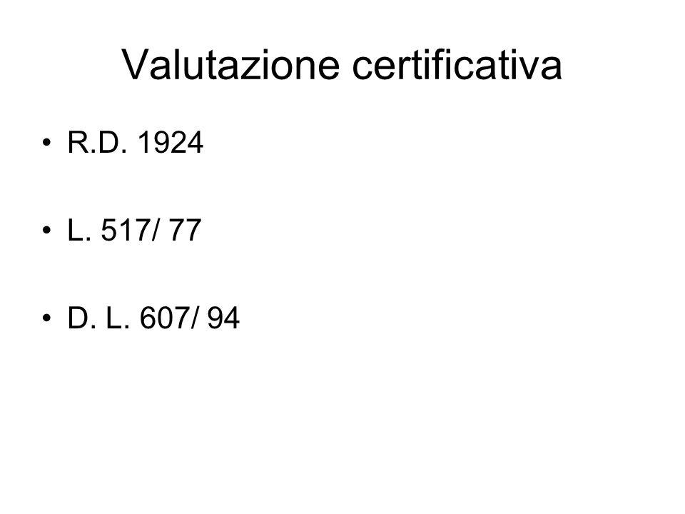 Valutazione certificativa R.D. 1924 L. 517/ 77 D. L. 607/ 94
