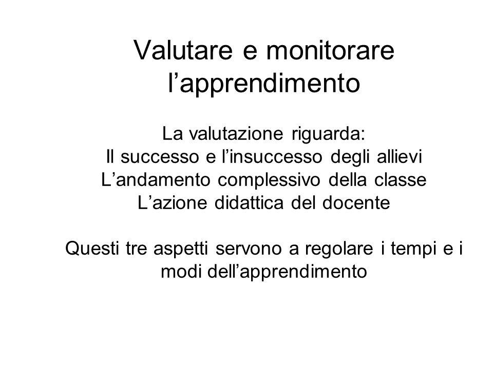 Valutare e monitorare lapprendimento La valutazione riguarda: Il successo e linsuccesso degli allievi Landamento complessivo della classe Lazione dida