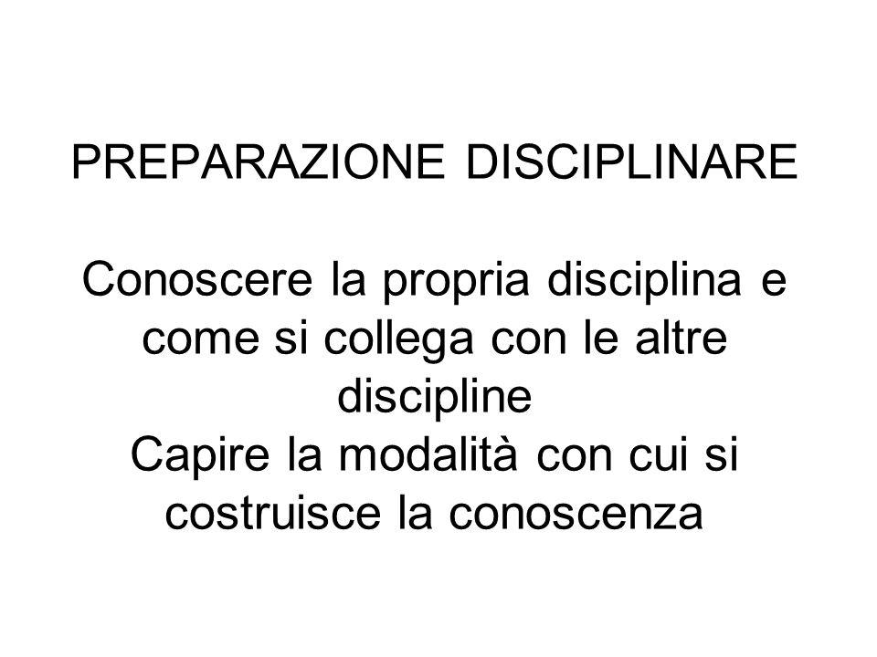 PREPARAZIONE DISCIPLINARE Conoscere la propria disciplina e come si collega con le altre discipline Capire la modalità con cui si costruisce la conosc