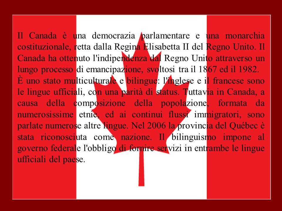 Il Canada è una democrazia parlamentare e una monarchia costituzionale, retta dalla Regina Elisabetta II del Regno Unito. Il Canada ha ottenuto l'indi