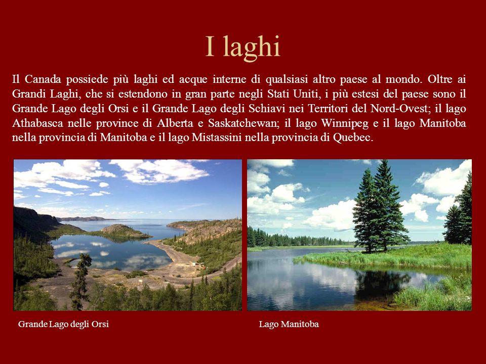 I laghi Il Canada possiede più laghi ed acque interne di qualsiasi altro paese al mondo. Oltre ai Grandi Laghi, che si estendono in gran parte negli S