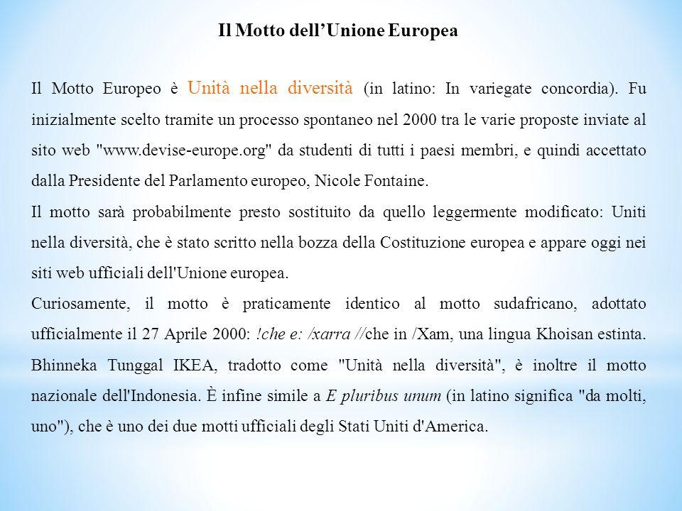 Il Motto dellUnione Europea Il Motto Europeo è Unità nella diversità (in latino: In variegate concordia). Fu inizialmente scelto tramite un processo s