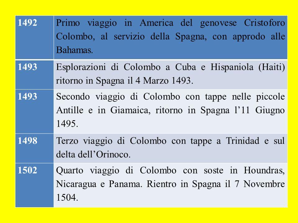 1492 Primo viaggio in America del genovese Cristoforo Colombo, al servizio della Spagna, con approdo alle Bahamas. 1493 Esplorazioni di Colombo a Cuba