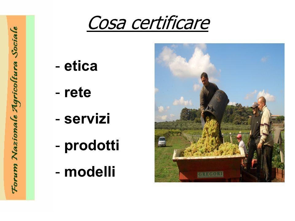 Cosa certificare - etica - rete - servizi - prodotti - modelli
