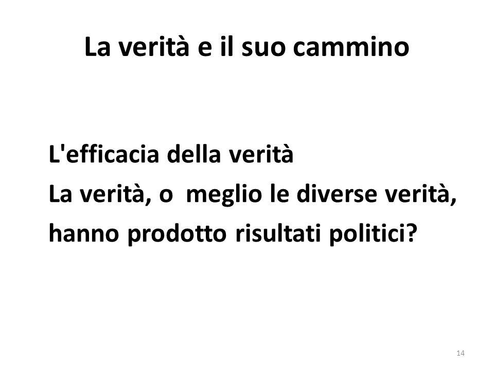 La verità e il suo cammino L'efficacia della verità La verità, o meglio le diverse verità, hanno prodotto risultati politici? 14