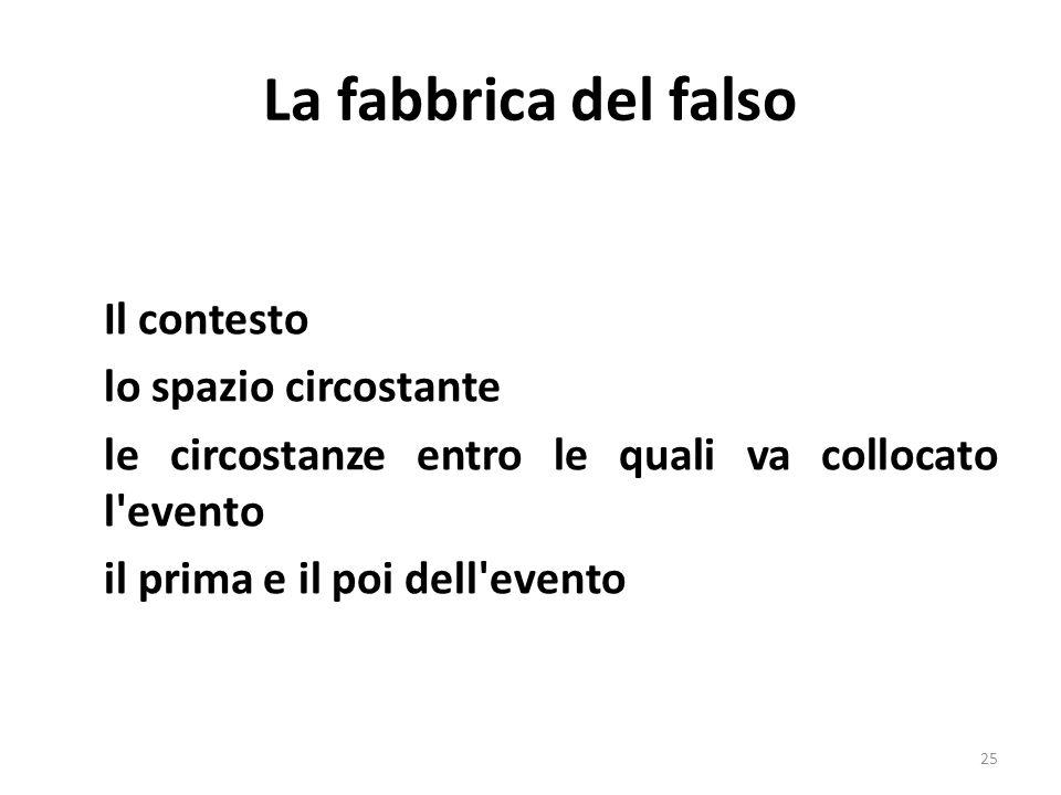 La fabbrica del falso Il contesto lo spazio circostante le circostanze entro le quali va collocato l'evento il prima e il poi dell'evento 25