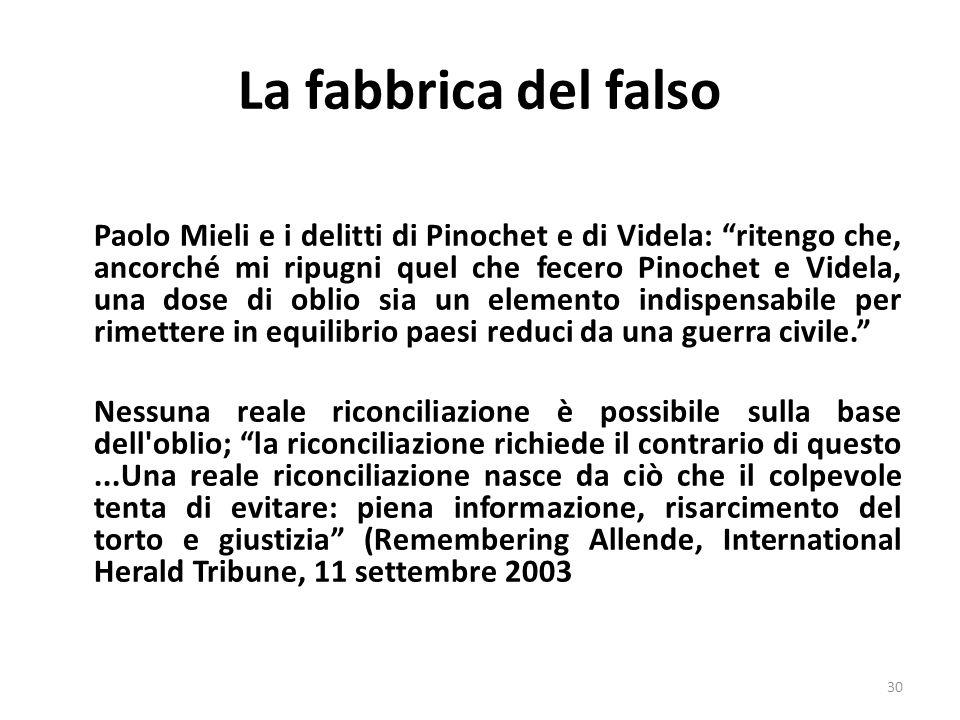 La fabbrica del falso Paolo Mieli e i delitti di Pinochet e di Videla: ritengo che, ancorché mi ripugni quel che fecero Pinochet e Videla, una dose di