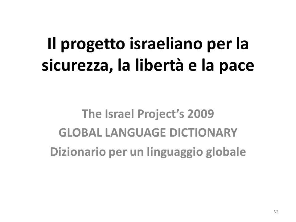 Il progetto israeliano per la sicurezza, la libertà e la pace The Israel Projects 2009 GLOBAL LANGUAGE DICTIONARY Dizionario per un linguaggio globale