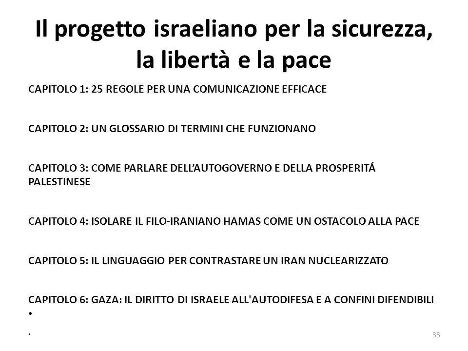 Il progetto israeliano per la sicurezza, la libertà e la pace CAPITOLO 1: 25 REGOLE PER UNA COMUNICAZIONE EFFICACE CAPITOLO 2: UN GLOSSARIO DI TERMINI