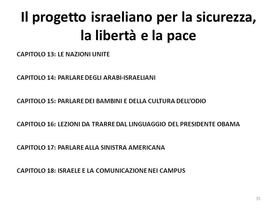 Il progetto israeliano per la sicurezza, la libertà e la pace CAPITOLO 13: LE NAZIONI UNITE CAPITOLO 14: PARLARE DEGLI ARABI-ISRAELIANI CAPITOLO 15: P