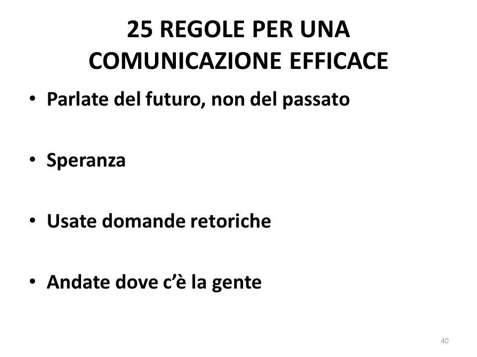 25 REGOLE PER UNA COMUNICAZIONE EFFICACE Parlate del futuro, non del passato Speranza Usate domande retoriche Andate dove cè la gente 40
