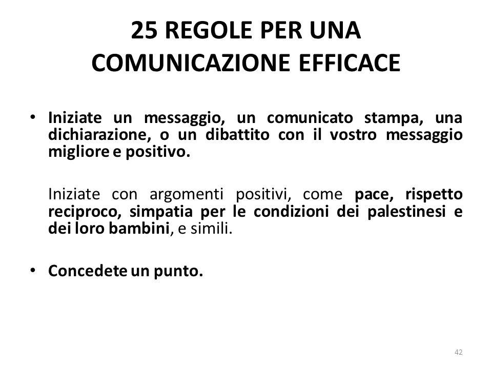 25 REGOLE PER UNA COMUNICAZIONE EFFICACE Iniziate un messaggio, un comunicato stampa, una dichiarazione, o un dibattito con il vostro messaggio miglio