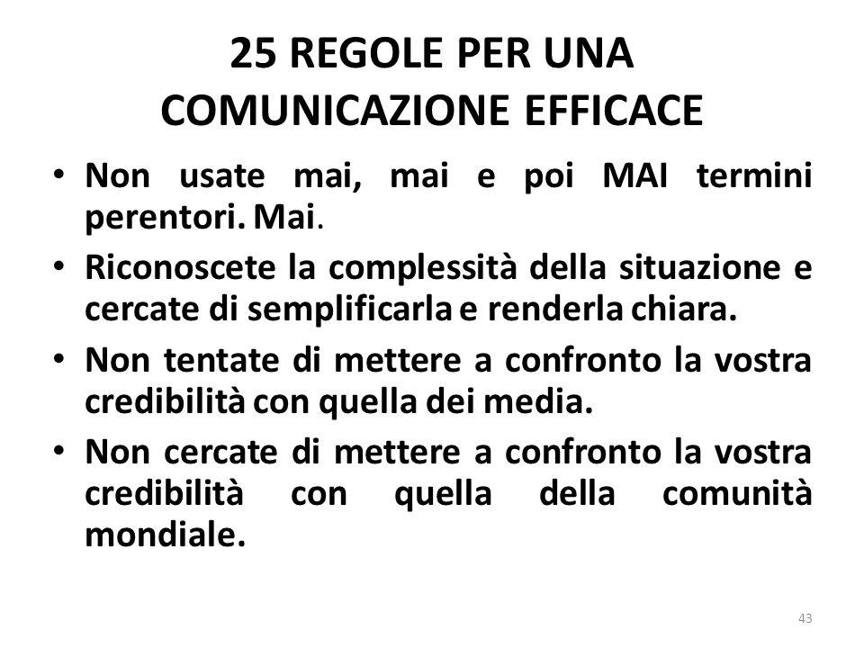 25 REGOLE PER UNA COMUNICAZIONE EFFICACE Non usate mai, mai e poi MAI termini perentori. Mai. Riconoscete la complessità della situazione e cercate di