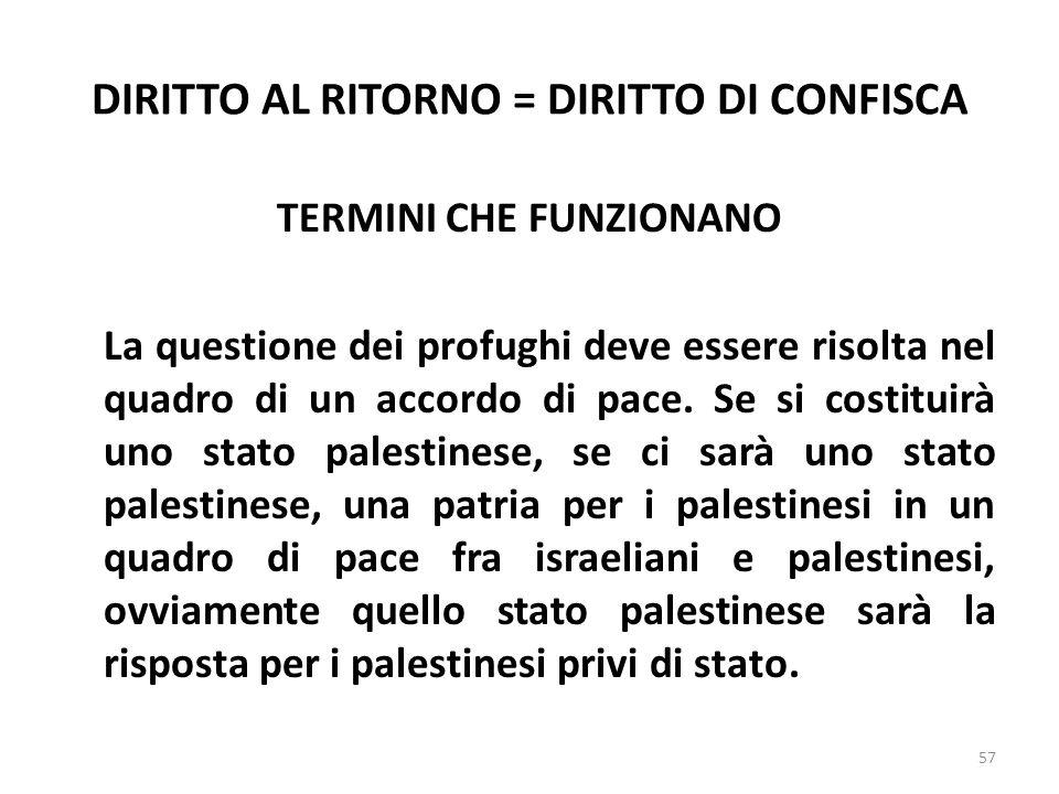 DIRITTO AL RITORNO = DIRITTO DI CONFISCA TERMINI CHE FUNZIONANO La questione dei profughi deve essere risolta nel quadro di un accordo di pace. Se si