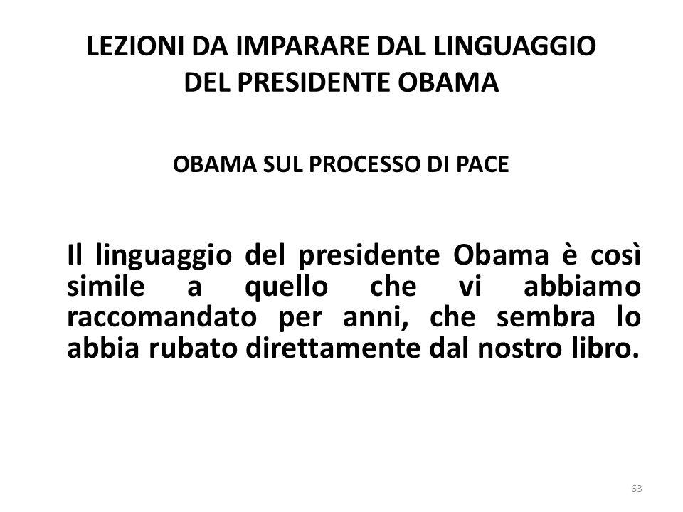 LEZIONI DA IMPARARE DAL LINGUAGGIO DEL PRESIDENTE OBAMA OBAMA SUL PROCESSO DI PACE Il linguaggio del presidente Obama è così simile a quello che vi ab