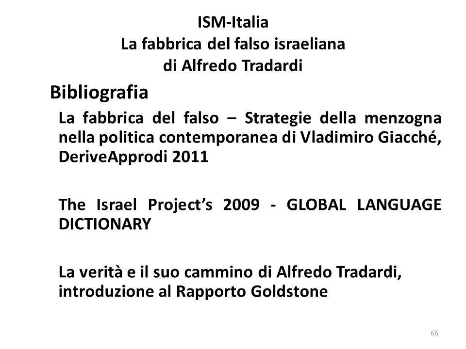 ISM-Italia La fabbrica del falso israeliana di Alfredo Tradardi Bibliografia La fabbrica del falso – Strategie della menzogna nella politica contempor