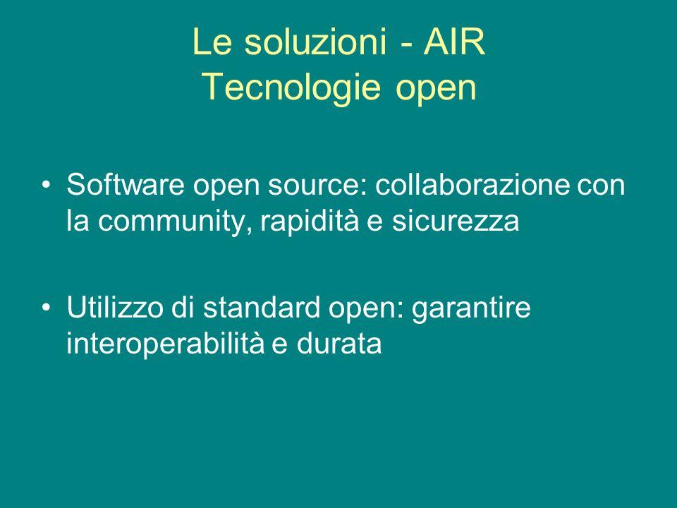 Le soluzioni - AIR Tecnologie open Software open source: collaborazione con la community, rapidità e sicurezza Utilizzo di standard open: garantire interoperabilità e durata