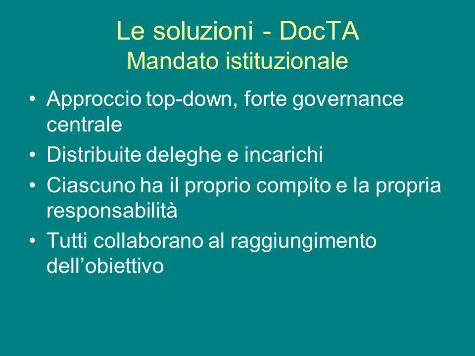 Le soluzioni - DocTA Mandato istituzionale Approccio top-down, forte governance centrale Distribuite deleghe e incarichi Ciascuno ha il proprio compito e la propria responsabilità Tutti collaborano al raggiungimento dellobiettivo