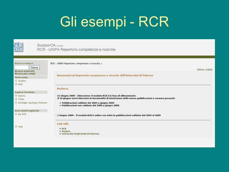 Gli esempi - RCR
