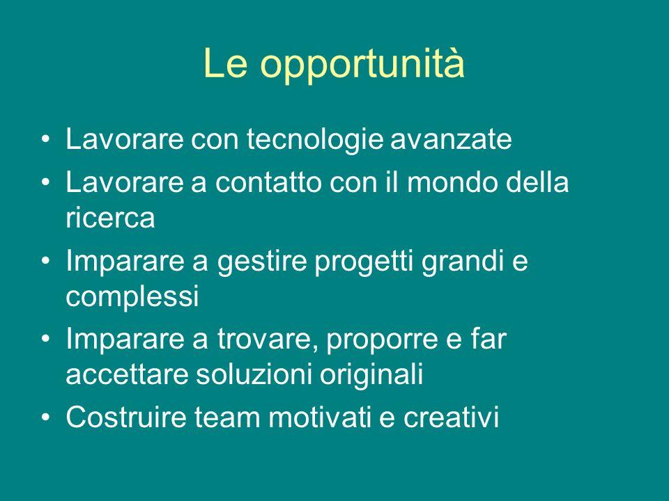 Le opportunità Lavorare con tecnologie avanzate Lavorare a contatto con il mondo della ricerca Imparare a gestire progetti grandi e complessi Imparare a trovare, proporre e far accettare soluzioni originali Costruire team motivati e creativi