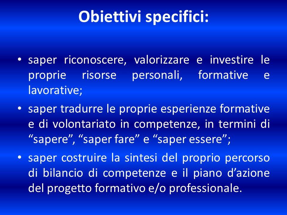 Obiettivi specifici: saper riconoscere, valorizzare e investire le proprie risorse personali, formative e lavorative; saper tradurre le proprie esperi